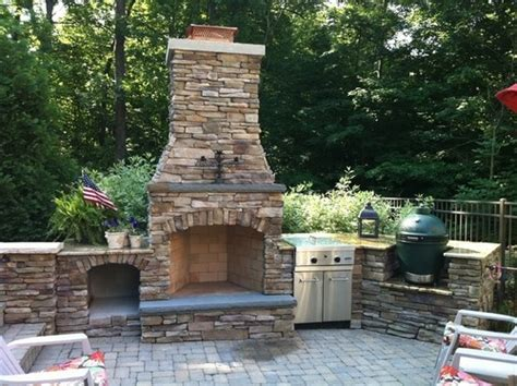 Outdoor Stacked Fireplace Built In Green Egg 17 Best Images About Outdoor Kitchen W Big Green Egg On