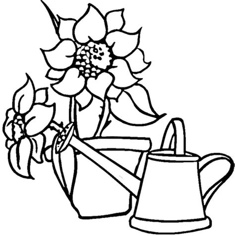 sunflower garden coloring page watering can and sunflowers coloring page free printable