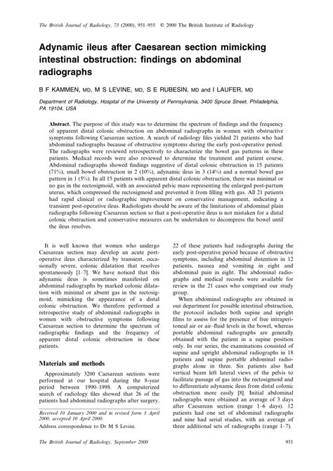 ileus after c section adynamic ileus after caesarean section mimicking