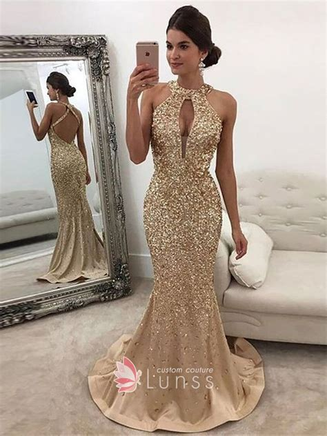 gold sequin sleeveless halter keyhole mermaid prom dress lunss couture