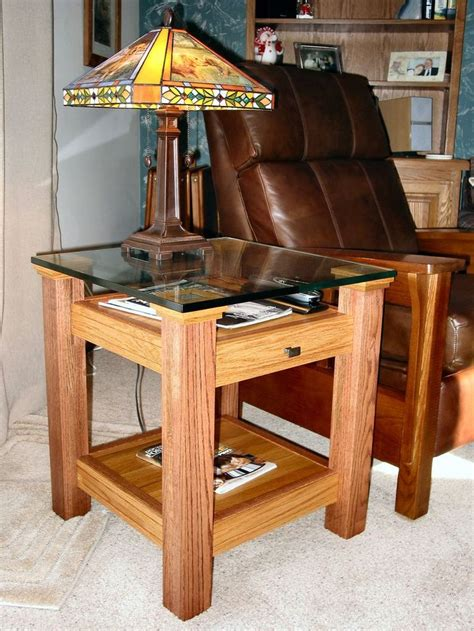 oak glass display top  table easy woodworking