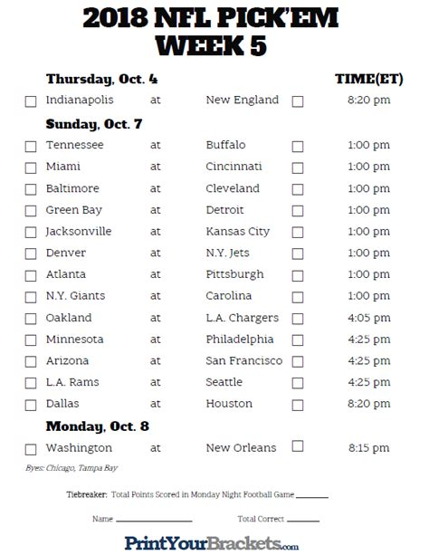 printable nfl schedule week 5 printable nfl week 5 schedule pick em pool 2018