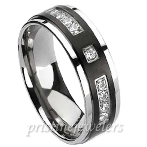 titanium black silver 9 cz stones comfort fit mens wedding
