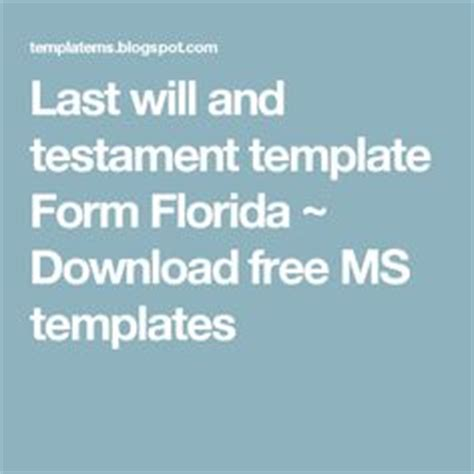 last will and testament template florida printable sle last will and testament template form