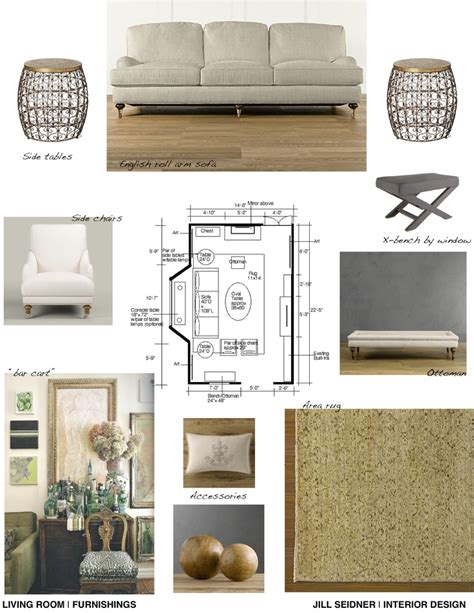 home design concept board furnishings concept board for living room jill seidner