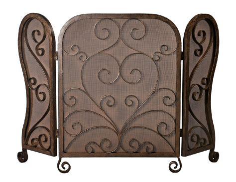 bronze mesh iron scroll fireplace screen screen