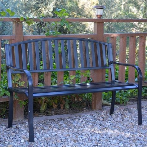 curved park bench jeco 50 quot l strap curved back steel park bench in black pb002