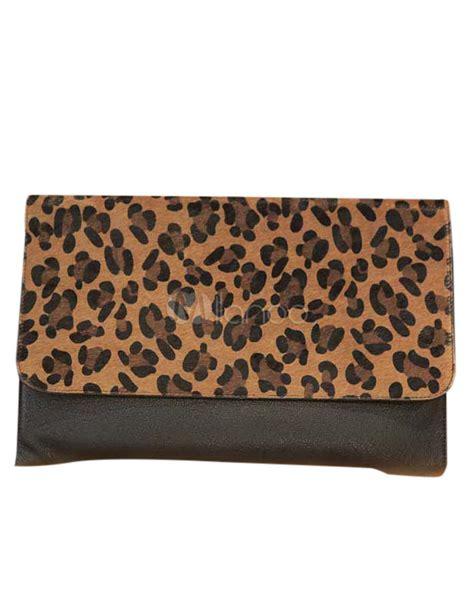Clutch Bag Kulit Leopard Black クラッチバッグ ヒョウ柄 マグネットボタン レディースバッグ スタイリッシュ 華やか パーティー milanoo jp