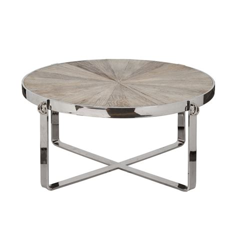 modern coffee table polished stainless steel frame elm