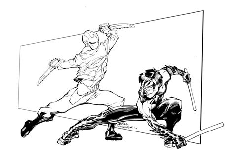 batman red hood coloring pages red hood vs nightwing inks by devgear on deviantart