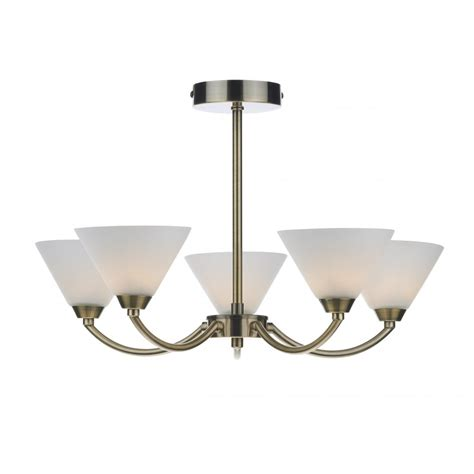 modern semi flush ceiling light in brass finish and opal