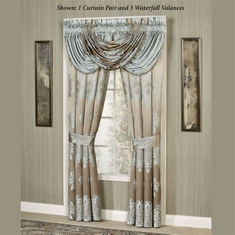 curtains with waterfall valance athena waterfall valance window treatment by j queen new york