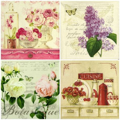 Retro Decoupage Paper - 4x vintage flowers mix paper napkins for decoupage