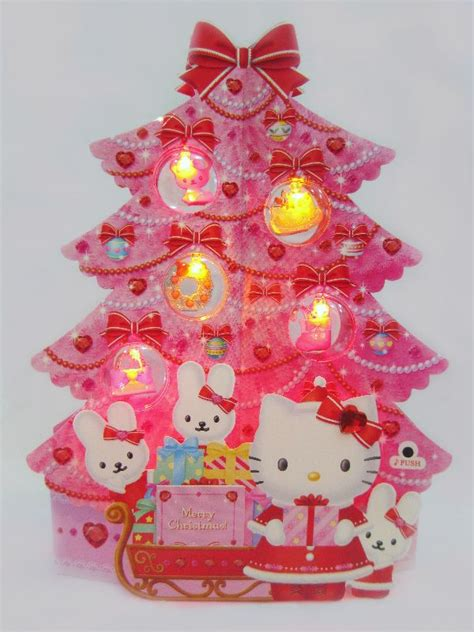 new hello kitty pink christmas tree greeting card 16