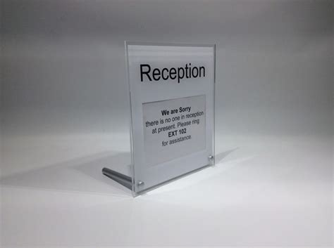 reception desk signs reception desk sign freestanding desk top sign with space