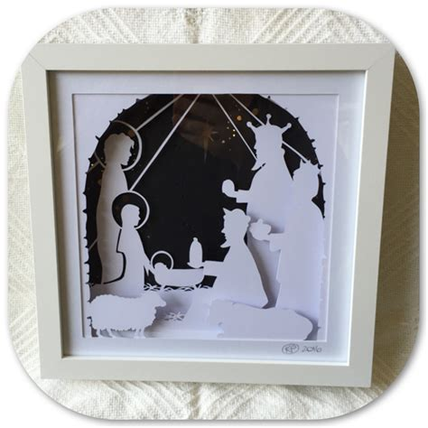 google design box shadow quot nativity quot illuminated shadow box paper cut art made