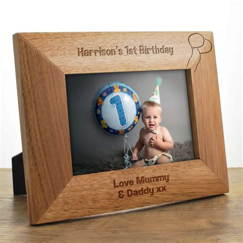 Wood Frame Poster Custom Happy Baby Born happy birthday personalised wooden photo frame gift