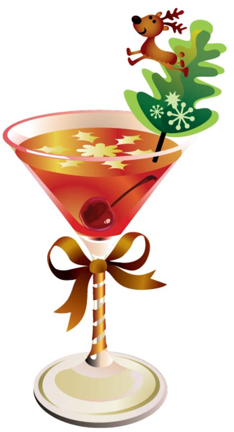 martini holiday drinks with umbrella transparent background christmas
