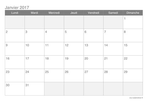 Kalender 2016 Monatsweise Calendrier Janvier 2017 224 Imprimer Icalendrier