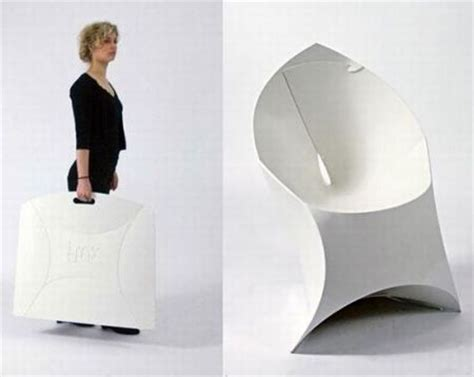 Origami Folding Furniture - flux chair folds flat assembles into an origami like