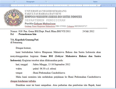 Contoh Surat Pengunduran Diri Dari Bem by Contoh Surat Peminjaman Bem Dan Izin Kapolsek Uchavision