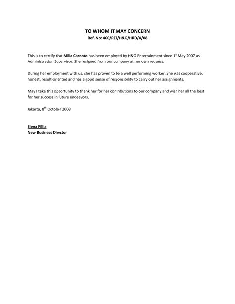 Employment Letter In letter from employer letters free sle letters