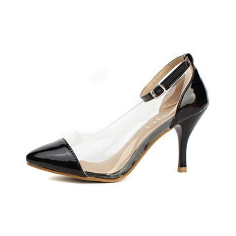 black pointed toe clear pvc high heel court shoes