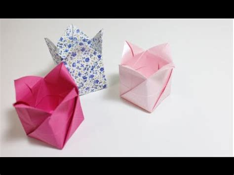 How To Make A Paper Bom - origami tutorial caixa tulipa tulip box