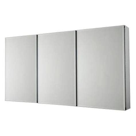 Home Depot Bathroom Mirror Cabinets Pegasus 48 In X 31 In Recessed Or Surface Mount Medicine Cabinet In Tri View Beveled Mirror