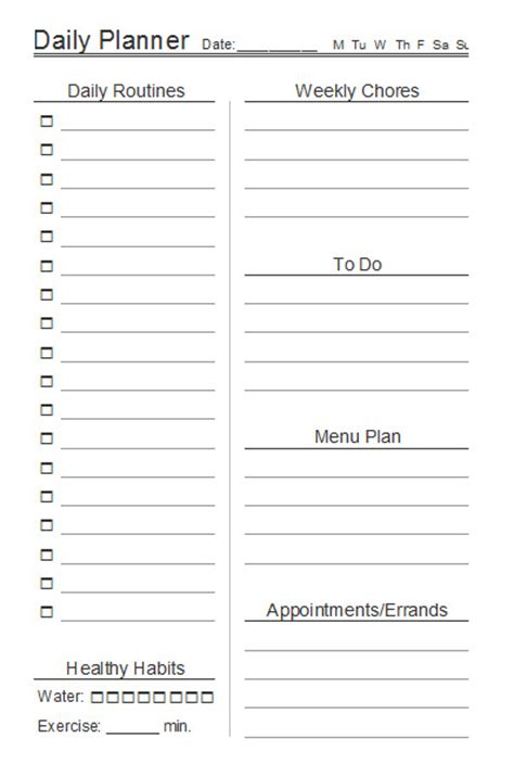 10 Free Printable Daily Planners Contented At Home Daily Organizer Template