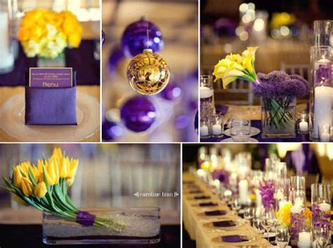 Gold Ideas For Purple Wedding Decorations Robs Viva Purple And Yellow Wedding Centerpieces