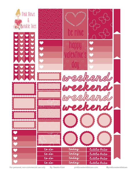 printable stickers sheets printables pink bows twinkle toes page 4