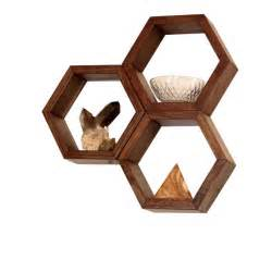 Hexagon Bookshelves Wood Shelves Wall Shelving Geometric Hexagon Shelves