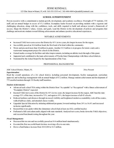 School Principal Resume Samples – Resume Format: Resume Samples Education Administration