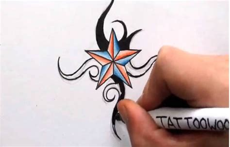 cool little designs how to draw a nautical star shading in color and tribal