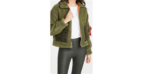 alpha industries cropped sherpa utility jacket  winter