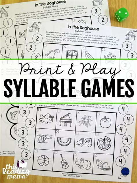 printable syllable games 2861 best free printables images on pinterest learning