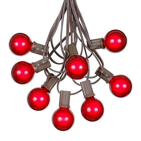 100 red g40 globe round outdoor string light set on brown