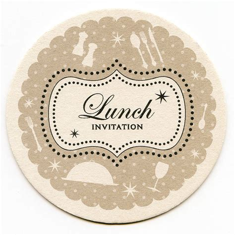 Lunch Invitation Card Template by Lunch Coaster Invitations By Aliroo Notonthehighstreet