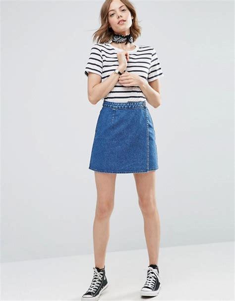 asos asos denim wrap skirt in mid wash blue