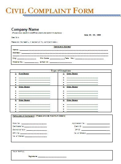 complaint form template civil complaint form template pictures