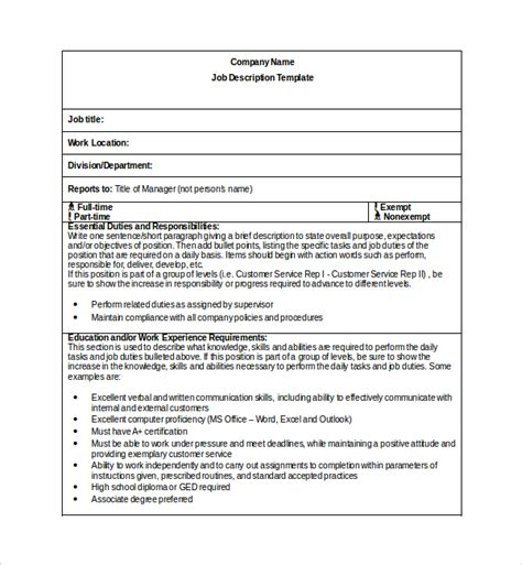 Sle Job Description Template 9 Free Documents Download In Pdf Word Description Template Free Word