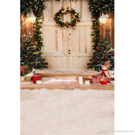 2018 outdoor house christmas tree photography backdrop