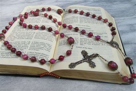 Handmade Catholic Rosaries - 8mm pink lace agate handmade catholic rosaries