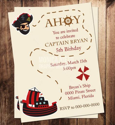 Custom Printable Pirate Party Birthday Invitation Template Birthday Invitation Templates Free Personalized Birthday Invitation Templates