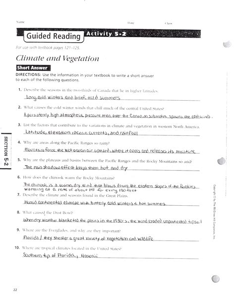 Section 4 1 The Of Climate Answers by Mr E S World History Page September 2014