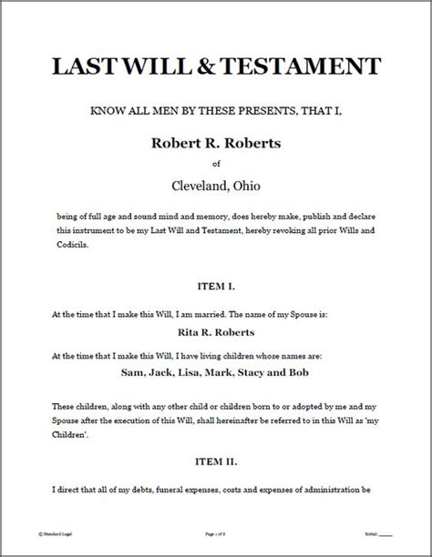 template will and testament printable sle last will and testament template form