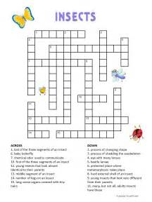 Printable Puzzles Insects Crossword For Kids