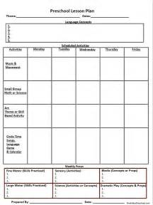 Printable Blank Lesson Plan Template by Blank Printable Lesson Plan Sheet Nuttin But Preschool