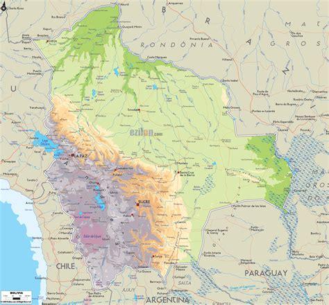 map of bolivia physical map of bolivia ezilon maps